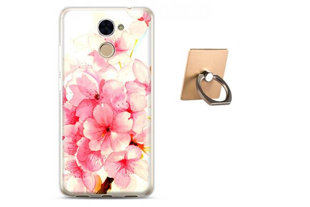 Фирменная необычная из мягкого и тонкого силикона задняя панель-чехол-накладка для Huawei Honor 7 Plus тематика Цветущая Вишня