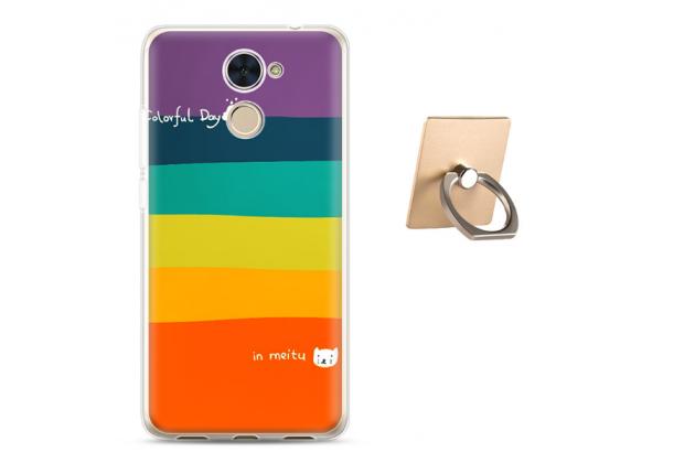 Фирменная необычная из мягкого и тонкого силикона задняя панель-чехол-накладка для Huawei Honor 7 Plus тематика Все цвета Радуги