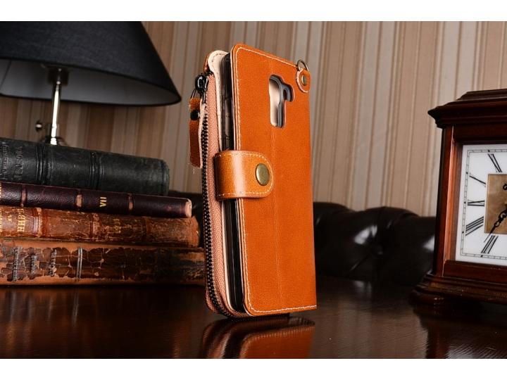 Фирменный чехол-портмоне-клатч-кошелек на силиконовой основе из качественной импортной кожи для Huawei Honor 7..
