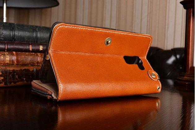 Фирменный чехол-портмоне-клатч-кошелек на силиконовой основе из качественной импортной кожи для Huawei Honor 7/ Honor 7 Premium 5.2 коричневый