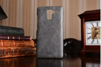Фирменная роскошная элитная премиальная задняя панель-крышка обтянутая импортной кожей для Huawei Honor 7/ Honor 7 Premium черного цвета