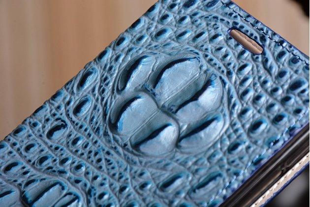 Фирменный роскошный эксклюзивный чехол с объёмным 3D изображением рельефа кожи крокодила синий для Huawei Honor 7/ Honor 7 Premium. Только в нашем магазине. Количество ограничено