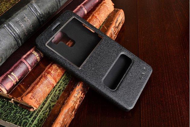 Фирменный чехол-книжка для Huawei Honor 7/ Honor 7 Premium черный с окошком для входящих вызовов и свайпом водоотталкивающий