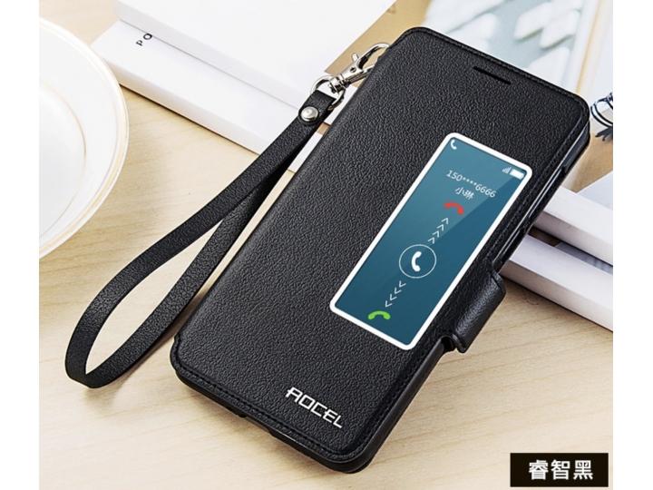 Фирменный оригинальный чехол-книжка для Huawei Honor 6 (H60-L04) черный с окошком для входящих вызовов..
