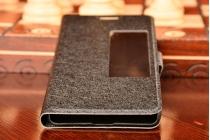 Фирменный оригинальный чехол-книжка для Huawei Honor 6 (H60-L04) черный с окошком для входящих вызовов
