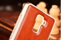 Фирменная роскошная элитная премиальная задняя панель-крышка на металлической основе обтянутая импортной кожей для Huawei Honor 7/ Honor 7 Premium королевский коричневый
