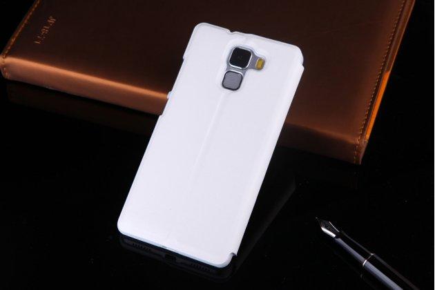Фирменный тонкий чехол-книжка с окошком для входящих вызовов из качественной импортной кожи с мульти-подставкой для Huawei Honor 7/ Honor 7 Premium белый