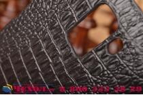 Элитная задняя панель-крышка премиум-класса из тончайшего и прочного пластика обтянутого кожей крокодила для Huawei Honor 7/ Honor 7 Premium брутальный черный