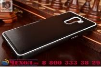 Фирменная роскошная элитная премиальная задняя панель-крышка на металлической основе обтянутая импортной кожей для Huawei Honor 7/ Honor 7 Premium королевский черный