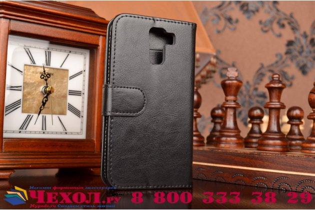 Фирменный чехол-книжка из качественной импортной кожи с мульти-подставкой застёжкой и визитницей для Хуавей Хонор 7/ Хонор 7 Премиум черный