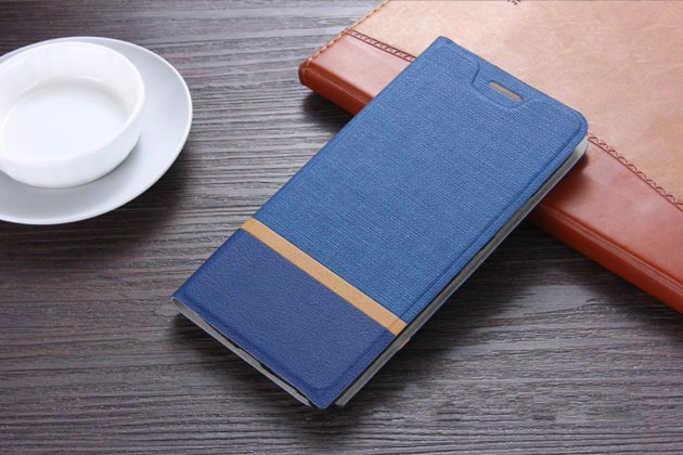 Фирменный чехол-книжка из качественной водоотталкивающей импортной кожи на жёсткой металлической основе для Huawei Honor 7 синий с полосой