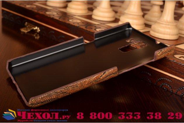 Фирменная элегантная экзотическая задняя панель-крышка с фактурной отделкой натуральной кожи крокодила кофейного цвета для Huawei Honor 7/ Honor 7 Premium. Только в нашем магазине. Количество ограничено.