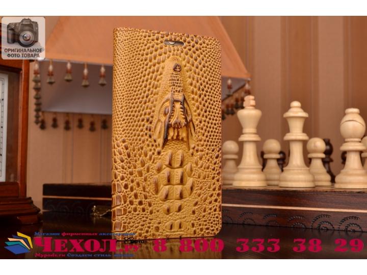 Фирменный роскошный эксклюзивный чехол с объёмным 3D изображением кожи крокодила коричневый для Huawei Honor 7..