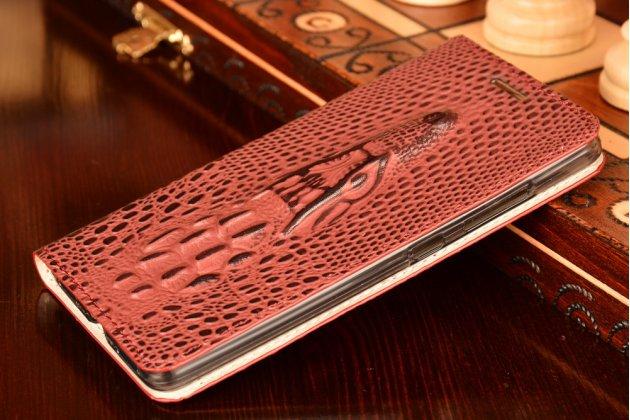 Фирменный роскошный эксклюзивный чехол с объёмным 3D изображением кожи крокодила фиолетовый для Huawei Honor 7/ Honor 7 Premium . Только в нашем магазине. Количество ограничено