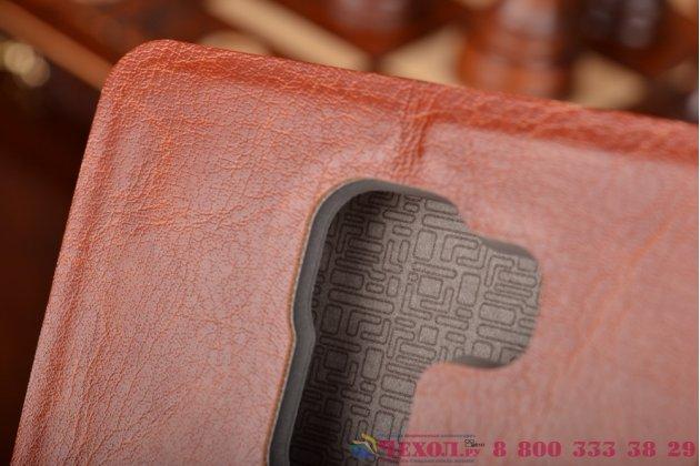 Фирменный чехол-книжка из качественной водоотталкивающей импортной кожи на жёсткой металлической основе для Huawei Honor 7 коричневый