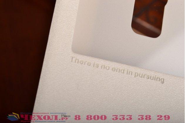 Фирменный оригинальный чехол-книжка для Huawei Honor 7 белый с окошком для входящих вызовов водоотталкивающий