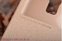 Фирменный оригинальный чехол-книжка для Huawei Honor 7 золотой кожаный с окошком для входящих вызовов