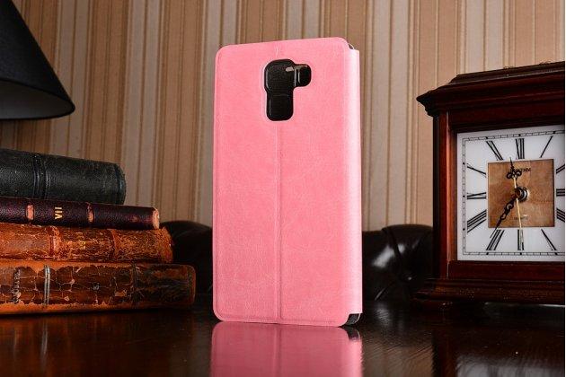 Фирменный чехол-книжка из качественной водоотталкивающей импортной кожи на жёсткой металлической основе для Huawei Honor 7 розовый