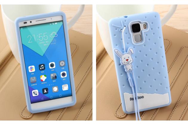 """Фирменная необычная уникальная полимерная мягкая задняя панель-чехол-накладка для Huawei Honor 7/ Honor 7 Premium  """"тематика Андроид в Черничном  Шоколаде"""""""