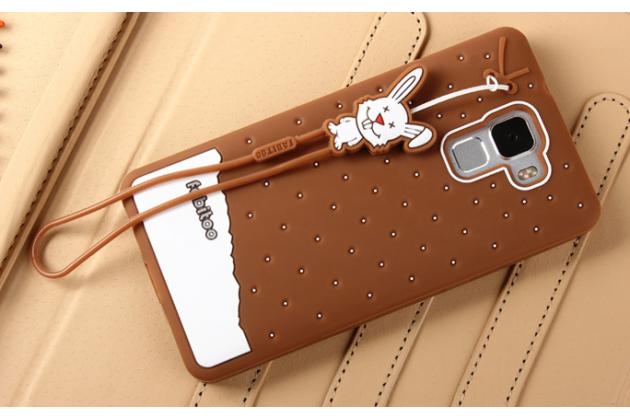 """Фирменная необычная уникальная полимерная мягкая задняя панель-чехол-накладка для Huawei Honor 7/ Honor 7 Premium """"тематика Андроид в Темном  Шоколаде"""""""