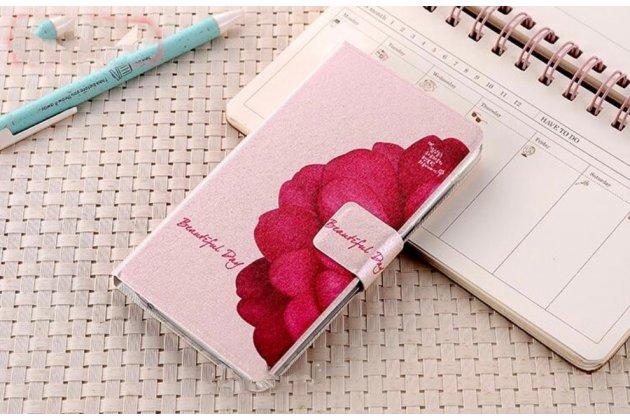 """Фирменный уникальный необычный чехол-книжка для Huawei Honor 7i Dual Sim/ShotX 5.2"""" """"тематика Цветок"""""""