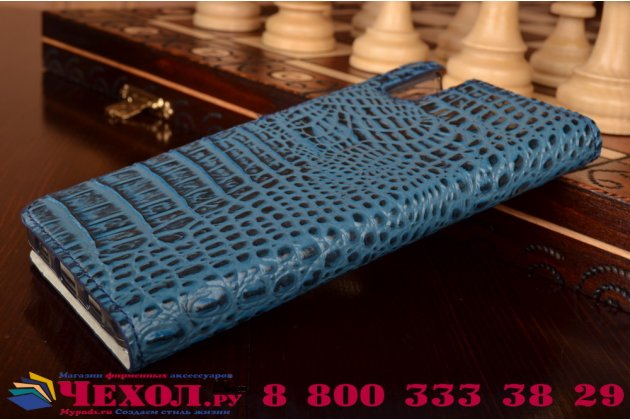 """Фирменный роскошный эксклюзивный чехол с объёмным 3D изображением рельефа кожи крокодила синий для Huawei Honor 7i Dual Sim/ShotX 5.2"""". Только в нашем магазине. Количество ограничено"""