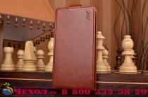 """Фирменный оригинальный вертикальный откидной чехол-флип для Huawei Honor 7i Dual Sim/ShotX 5.2"""" коричневый из натуральной кожи """"Prestige"""" Италия"""