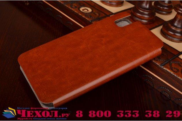 """Фирменный чехол-книжка  для  Huawei Honor 7i Dual Sim/ShotX 5.2""""  из качественной водоотталкивающей импортной кожи на жёсткой металлической основе коричневого цвета"""