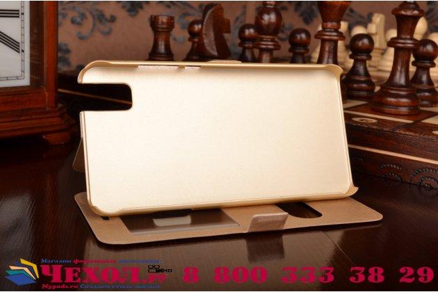 """Фирменный чехол-книжка для Huawei Honor 7i Dual Sim/ShotX 5.2"""" золотой с окошком для входящих вызовов и свайпом водоотталкивающий"""