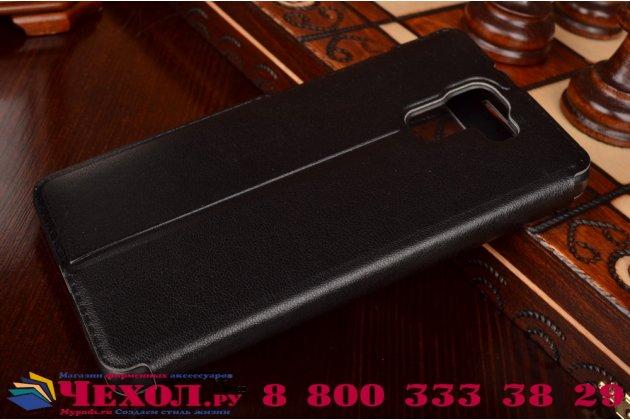 Фирменный тонкий чехол-книжка с окошком для входящих вызовов из качественной импортной кожи с мульти-подставкой для Huawei Honor 7/ Honor 7 Premium черный