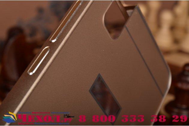 """Фирменная металлическая задняя панель-крышка-накладка из тончайшего облегченного авиационного алюминия для Huawei Honor 7i Dual Sim/ShotX 5.2"""" золотая"""