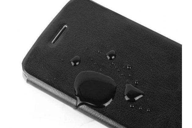 """Фирменный чехол-книжка  для  Huawei Honor 7i  Dual Sim/ShotX 5.2"""" из качественной водоотталкивающей импортной кожи на жёсткой металлической основе черного цвета"""