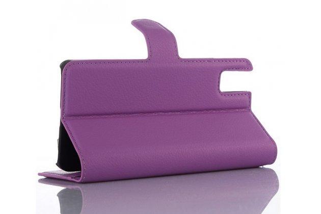 """Фирменный чехол-книжка из качественной импортной кожи с мульти-подставкой застёжкой и визитницей для Хюавей Хонор 7и Дуал Сим/Шот Икс 5.2"""" фиолетовый"""