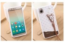 """Фирменная необычная уникальная полимерная мягкая задняя панель-чехол-накладка для Huawei Honor 7i Dual Sim/ShotX 5.2"""" """"тематика Андроид в Белом Шоколаде"""""""