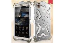 """Противоударный металлический чехол-бампер из цельного куска металла с усиленной защитой углов и необычным экстремальным дизайном  для Huawei Honor 7i Dual Sim/ShotX 5.2"""" серебряного цвета"""