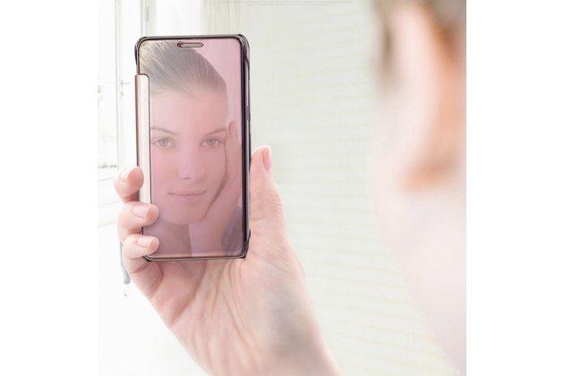 Чехол-книжка с дизайном Clear View Cover полупрозрачный с зеркальной поверхностью для Huawei Honor 8 (FRD-AL00) 5.2 голубой
