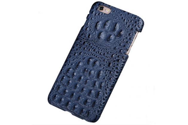 """Фирменная роскошная эксклюзивная накладка с объёмным 3D изображением рельефа кожи крокодила  синяя для Huawei Honor 8 (FRD-AL00) 5.2"""". Только в нашем магазине. Количество ограничено"""