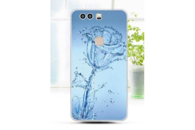 """Фирменная задняя панель-чехол-накладка из прозрачного 3D  силикона с объёмным рисунком для Huawei Honor 8 (FRD-AL00) 5.2""""  """"тематика Водяная роза"""" которая огибает логотип чтобы была видна марка телефона"""