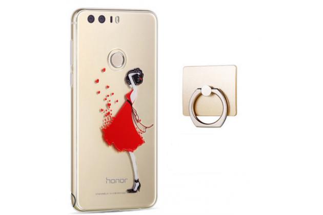 """Фирменная задняя панель-чехол-накладка из прозрачного 3D  силикона с объёмным рисунком для Huawei Honor 8 (FRD-AL00) 5.2""""  """"тематика Красное платье"""" которая огибает логотип чтобы была видна марка телефона"""