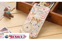 """Фирменная задняя панель-чехол-накладка из прозрачного 3D  силикона с  объёмным рисунком для Huawei Honor 8 (FRD-AL00) 5.2"""" тематика """"оленя в цветах"""" которая огибает логотип чтобы была видна марка телефона"""