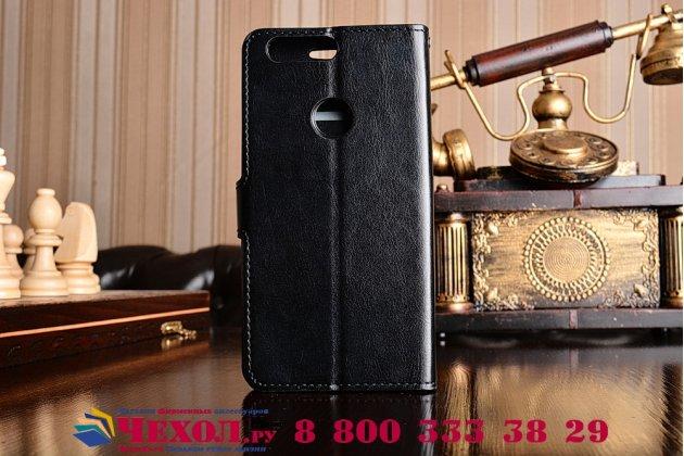 """Фирменный чехол-книжка для Huawei Honor 8 (FRD-AL00) 5.2"""" с визитницей и мультиподставкой черный кожаный"""