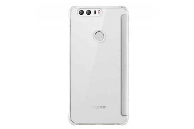 """Фирменный оригинальный чехол-книжка с логотипом для Huawei Honor 8 (FRD-AL00) 5.2""""  белый кожаный с окошком для входящих вызовов"""