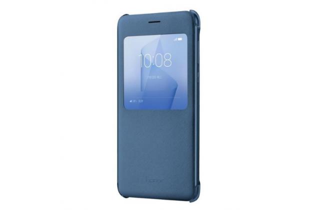 """Фирменный оригинальный чехол-книжка с логотипом для Huawei Honor 8 (FRD-AL00) 5.2""""  черный кожаный с окошком для входящих вызовов"""