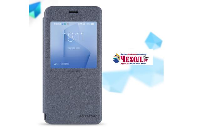 """Фирменный оригинальный чехол-книжка для Huawei Honor 8 (FRD-AL00) 5.2"""" черный с окошком для входящих вызовов водоотталкивающий"""