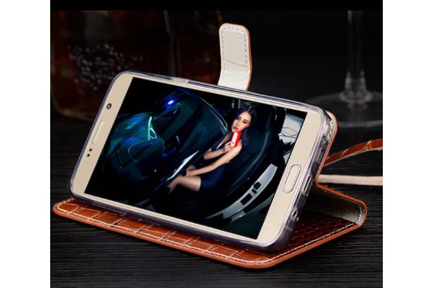"""Фирменный роскошный эксклюзивный чехол с фактурной прошивкой рельефа кожи крокодила и визитницей коричневый для Huawei Honor 8 (FRD-AL00) 5.2"""". Только в нашем магазине. Количество ограничено"""