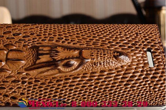 """Фирменный роскошный эксклюзивный чехол с объёмным 3D изображением кожи крокодила коричневый для  Huawei Honor 8 (FRD-AL00) 5.2"""". Только в нашем магазине. Количество ограничено"""