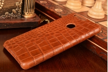 """Фирменная роскошная эксклюзивная накладка с объёмным 3D изображением рельефа кожи крокодила коричневая для Huawei Honor 8 (FRD-AL00) 5.2"""". Только в нашем магазине. Количество ограничено"""