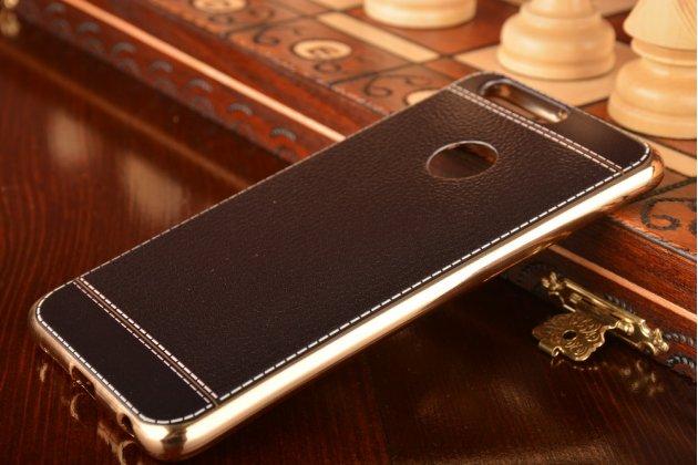 Фирменная премиальная элитная крышка-накладка из качественного силикона с дизайном под кожу для Huawei Honor 8 (FRD-AL00) 5.2  черная