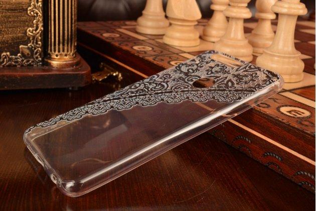 """Фирменная задняя панель-чехол-накладка из прозрачного 3D  силикона с объёмным рисунком для Huawei Honor 8 (FRD-AL00) 5.2""""  """"тематика Черное кружево"""" которая огибает логотип чтобы была видна марка телефона"""
