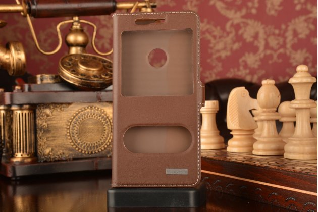 """Фирменный чехол-книжка для Huawei Honor 8 (FRD-AL00) 5.2"""" из качественной импортной кожи коричневый с окошком для входящих вызовов и свайпом"""